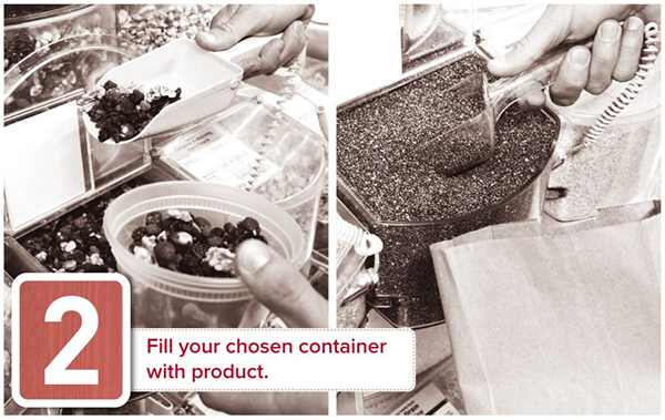 Fill your chosen container with product - Tidal Creek Coop